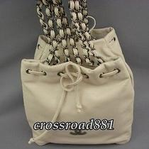 Authentic Chanel White Calf Skin Saddle Bag Like Small Hand Bag Great Condition Photo