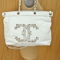 Authentic Chanel White Calfskin Mosaic Tote Bag/ Cross Body Studded Cc  Photo
