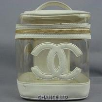 Authentic Chanel White Lambskin and Clear Vinyl Cosmetic Vanity Pouch Very Good Photo