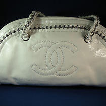 Authentic Chanel White Patent Leather Camera Bag W/ Silver Hardware -  2495 Photo