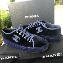 Authentic Chanel Womans Sued Navy Sneakers Size 38.5 Us 8.5b Great Condition Photo