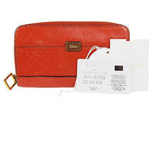 Authentic Chloe Long Zipper Bifold Wallet Purse Leather Red Spain Vintage 08f256 Photo