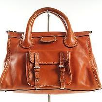 Authentic Chloe Orange Leather Edith Satchel Small Luggage Bag Photo