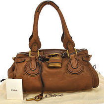 Authentic Chloe Paddington Shoulder Tote Bag Brown Italy Leather Vintage Ak01141 Photo