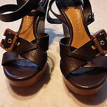 Authentic Chloe Platform Wedge Leather Shoes in Brown Leather Sz 7m Photo