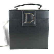 Authentic Christian Dior Beauty Black Leather Novelty Vanity Cosmetic Box  Photo