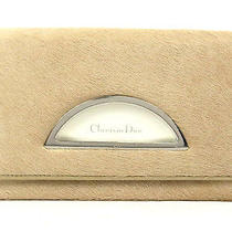 Authentic Christian Dior Beige Color Hair Calf Leather Long Bifold Wallet Italy Photo