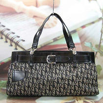 Authentic Christian Dior Black jacquard&leather Tote Bag Photo