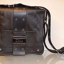 Authentic Christian Dior Black Leather Shoulder Bag With Dior Plate Gorgeous Photo