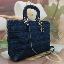 Authentic Christian Dior Denim Lady Bag Tote  Photo