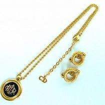 Authentic Christian Dior Gold Tone Necklace Earring Set From Japan Photo