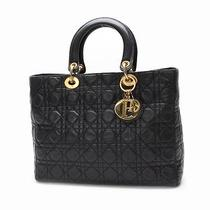 Authentic Christian Dior Lady Dior Cannage Hand Bag Leather  10095685 Photo