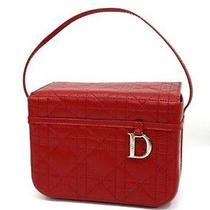 Authentic Christian Dior Leather Cannage Vanity Hand Bag Cosmetics Case Red  Photo