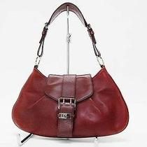 Authentic Christian Dior Leather Semi Shoulder Bag Wine Red Photo