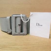 Authentic Christian Dior Matte Grey Leather Wide Belt  Sz 42 New With Tags Photo