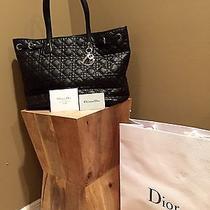 Authentic Christian Dior Navy Canvas Panarea Medium Tote Bag Photo
