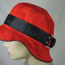 Authentic Christian Dior Red & Black Bucket Silk Hat Size 58 France Paris Photo