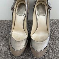 Authentic Christian Dior Shoes Taupe Pump High Heels Leather Suede Bow Size 36.5 Photo