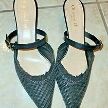 Authentic Christian Dior Teddy D Black Leather Mules Size 39 New Photo