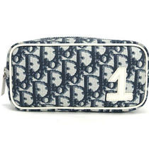 Authentic Christian Dior Trotter Navy Pvc Cosmetic Vanity Makeup Bag Pouch Purse Photo