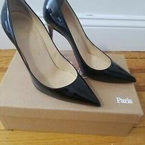 Authentic Christian Louboutin Black Patent Leather Heels Pumps Shoes 37.5 Photo