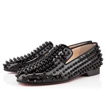 Authentic Christian Louboutin Black Patent Leather Rolling Spikes Flats 38.5/8.5 Photo