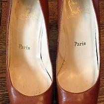 Authentic Christian Louboutin Camel Leather Wood Platform Pumps Size 37  Photo