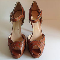 Authentic Christian Louboutin Platform Cognac Brown Heels Shoes 39.5 Photo