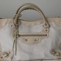 Authentic Classic Balenciaga Off White Leather & White Fur Bag Photo