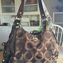Authentic Coach 14305 Madison Black Op Art Sateen Signature Maggie Shoulder Bag  Photo