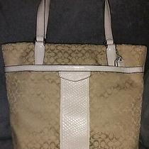 Authentic Coach 31311eucreptile Embossed Sig Striped Iv/bge Can/pat Lth Tote Photo