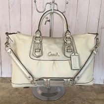 Authentic Coach Ashley Leather Convertible Satchel Bag 15445 Silver & White Photo