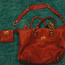 Authentic Coach Bag Red   Leather With Red Wallet Photo