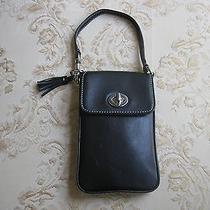 Authentic Coach Black  Cell Phone Overlap Closure Leather Purse Photo