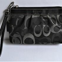 Authentic Coach Black & Gray Pleated Wristlet Wallet Signature C Fabric Photo