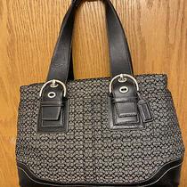 Authentic Coach Black/grey Black Signature Soho Hand Bag Purse F10928 Mini C Photo