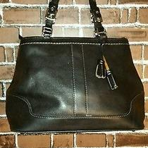 Authentic Coach Black Leather Handbag Zip Clothes With Tassels Pocketbook Purse Photo