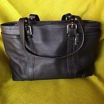 Authentic Coach Black Leather Large Diaper Laptop Travel Shoulder Tote Bag Purse Photo