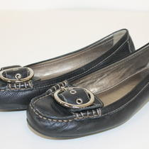 Authentic Coach Black Leather Loafers With Buckle Size 8 Photo