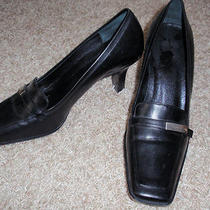 Authentic Coach Black Leather Womans Shoes Heels 7 1/2 Photo
