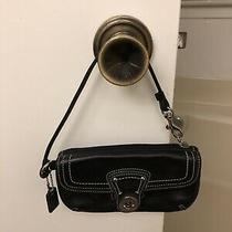 Authentic Coach Black Leather Wristlet Excellent Condition Photo