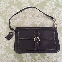Authentic Coach Black Leather Wristlet or Clutch Buckle Strap Magnetic Snap Photo