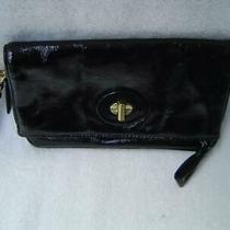 Authentic Coach Black Patent Leather Foldover Clutch   42437  Vgc Photo