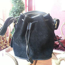 Authentic Coach Black Suede Drawstring Purse Antique Brass Hardware Photo