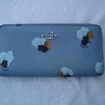 Authentic Coach Blue Floral Print Accordion Zip Around Wallet 53794  Vgc Photo