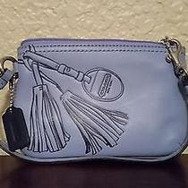 Authentic Coach Blue Leather Wallet Wristlet Photo