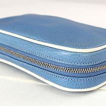 Authentic Coach Blue Leather  Zip-Around  Travel Jewelry Case Box Photo