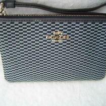 Authentic Coach Blue Legacy Jacquard Corner Zip Wristlet 13311  Euc/ln Photo