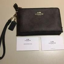 Authentic Coach Brown C Logo Corner Double Zipper Wristlet Wallet Nwot Photo