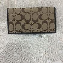 Authentic Coach Brown Signature Check Book Cover Wallet Nwot Photo